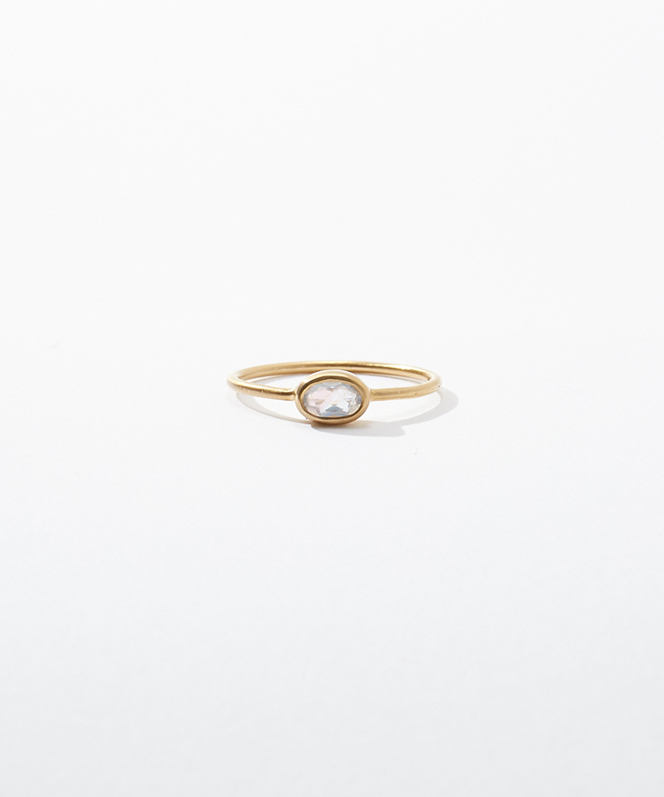 [jardin] K10 oval rainbow moonstone ring