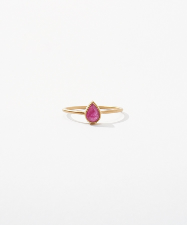 [jardin] K10 pear-shaped ruby ring