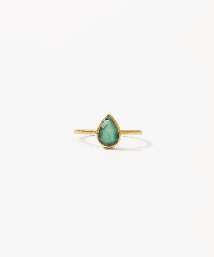 [jardin] K10 pear-shaped emerald ring
