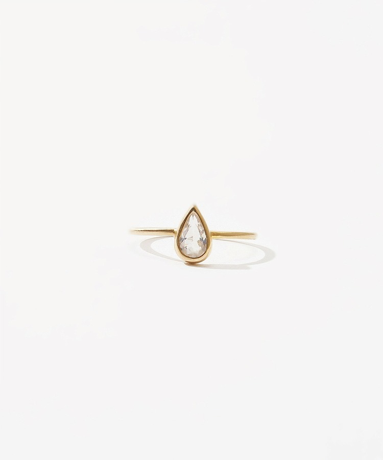 [jardin] K10 pear-shaped rainbow moonstone ring