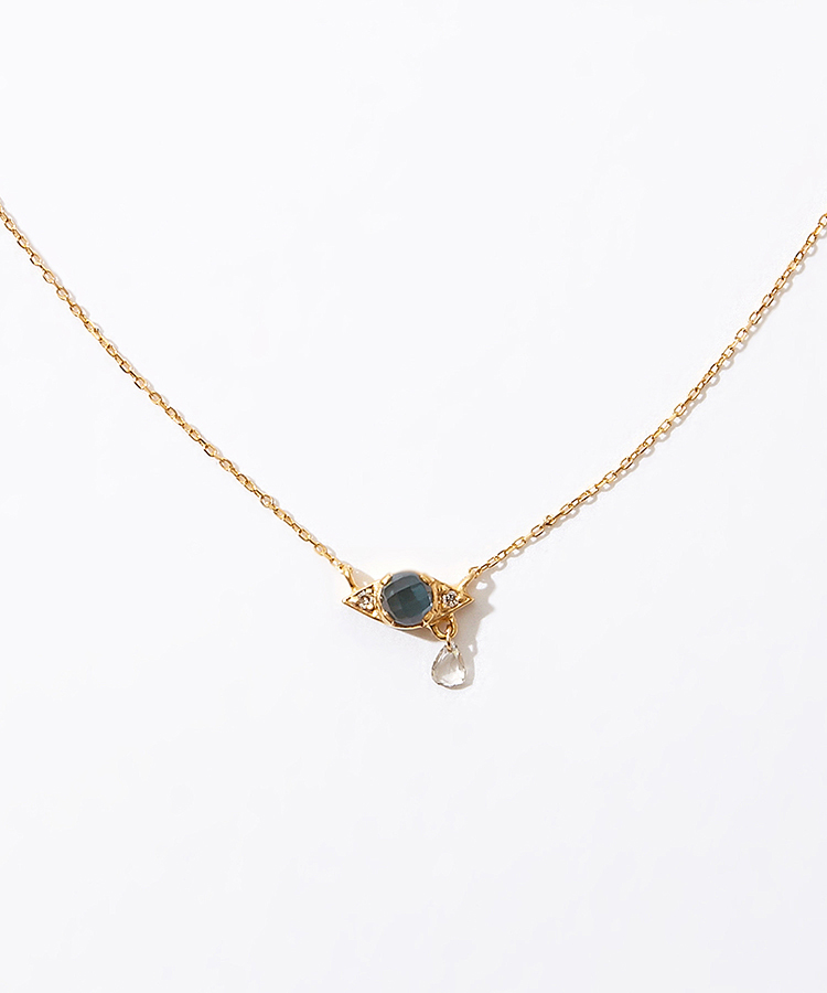[evil eye] K10 london blue topaz necklace