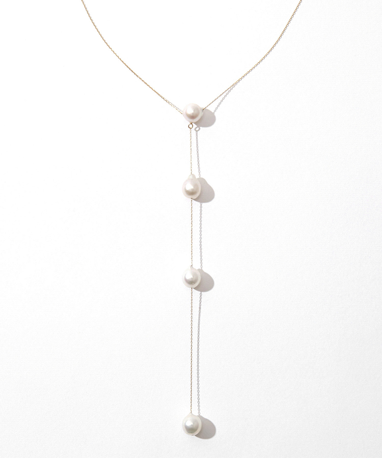 [moon drops] K10 pearls back-conscious necklace