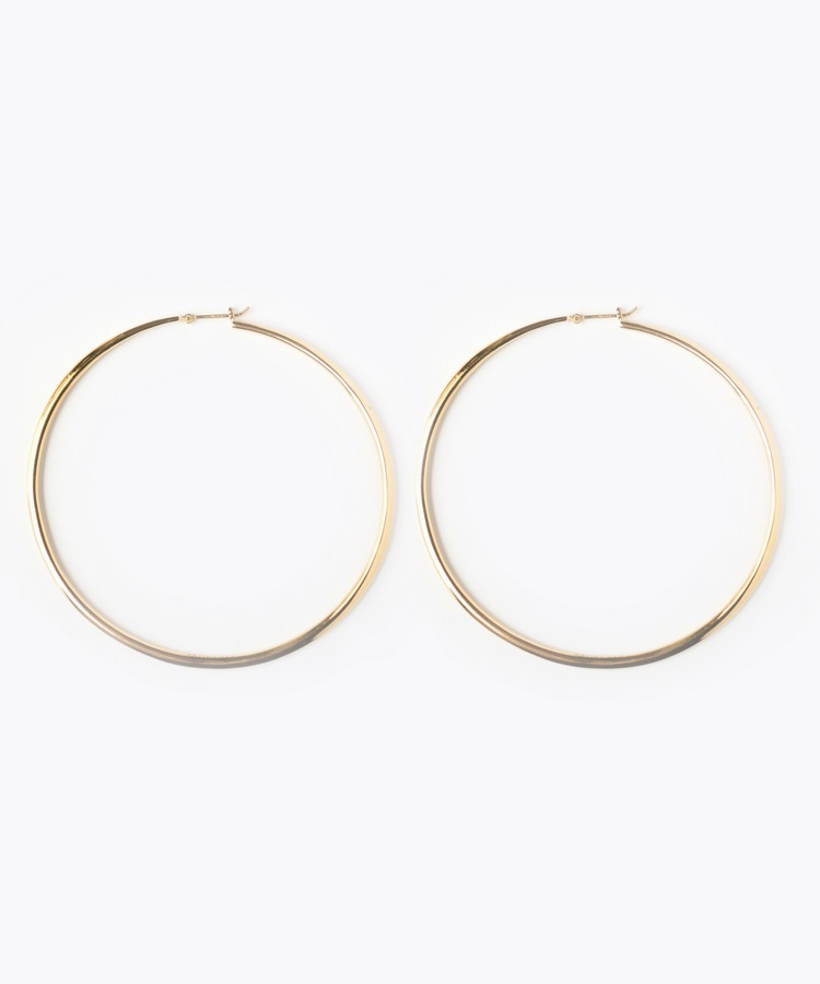 [bone] large hoop pierced earring