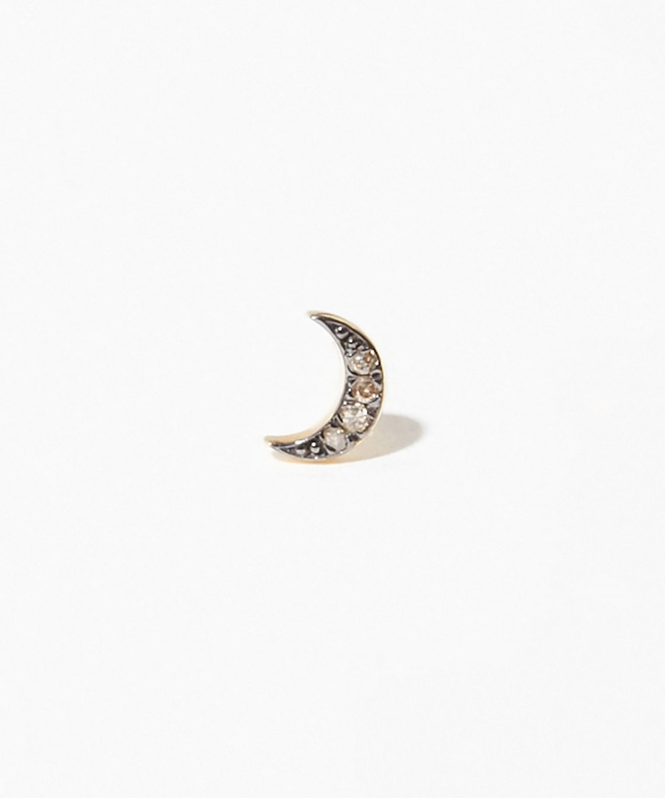 [selene] new moon pave diamondss stud pierced earring