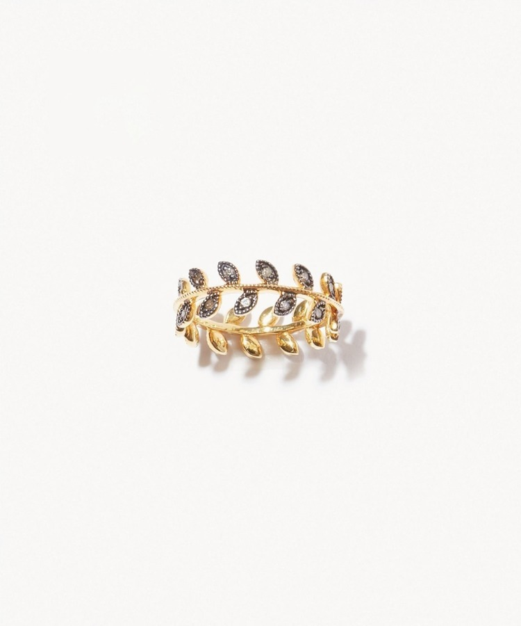 [citronnier] leaves pave diamondss ring