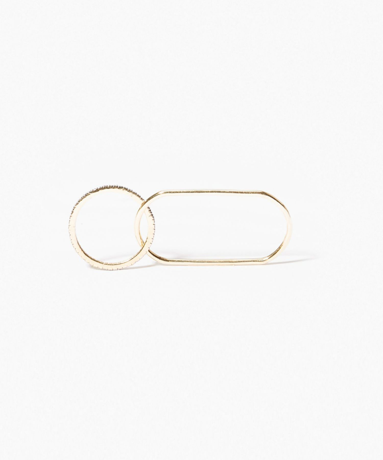 [gaia] pave link duble finger ring