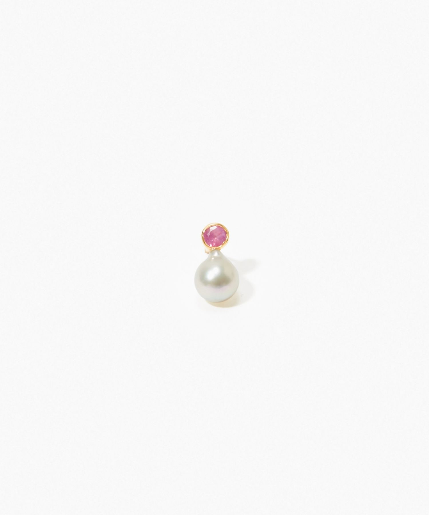 [philia] K10 akoya and round ruby stud pierced earring