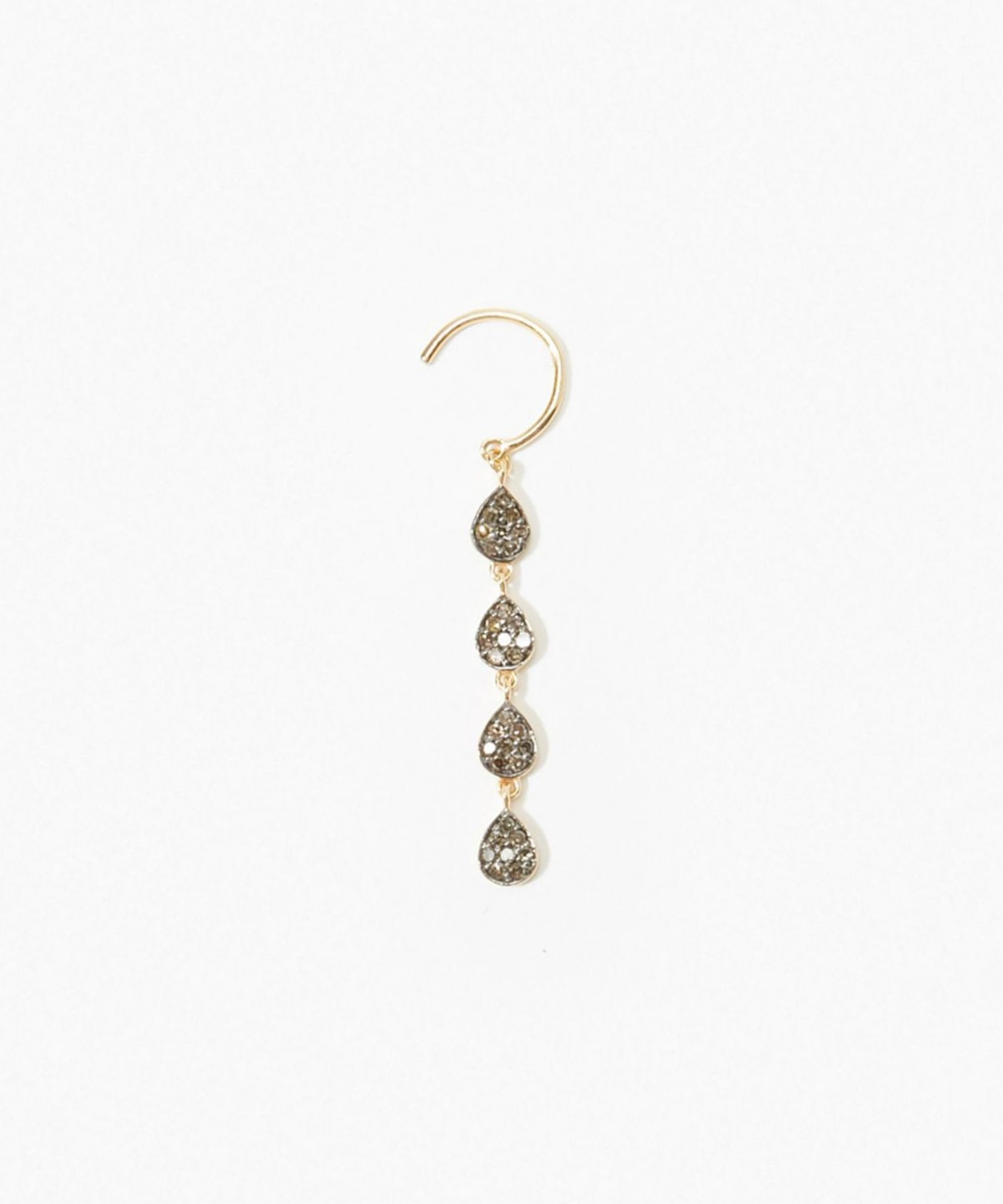 [lotus] bud diamond teradrops pierced earring