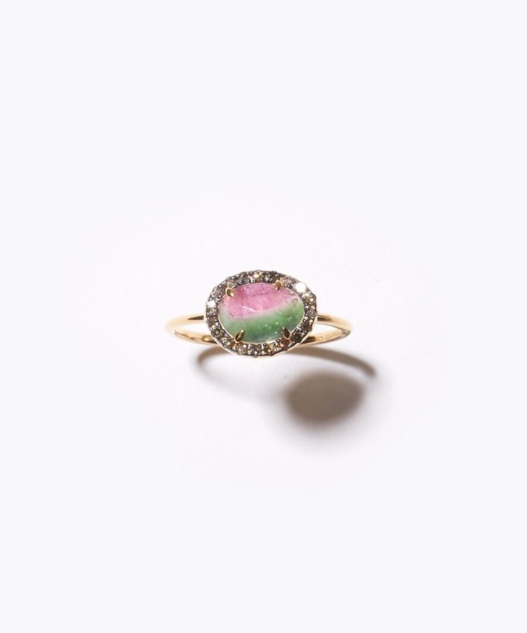 [elafonisi] medium watermelon tourmaline with pave diamondss  ring