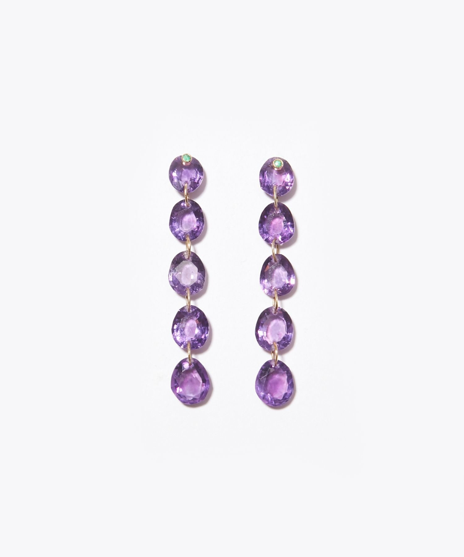 [eden] K10 dark amethyst tear drops pierced earring