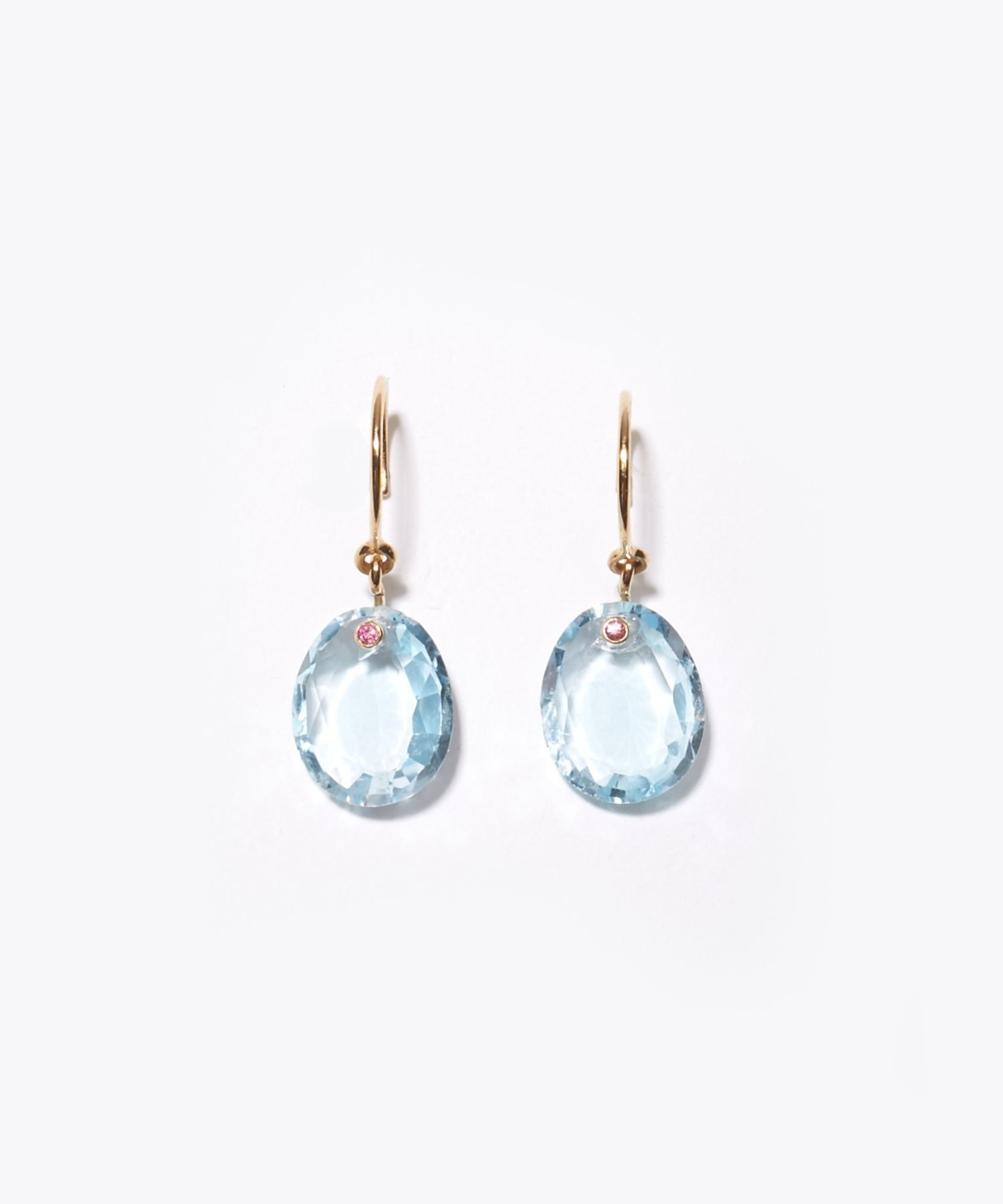 [eden] K10 swiss blue topaz drops pierced earring