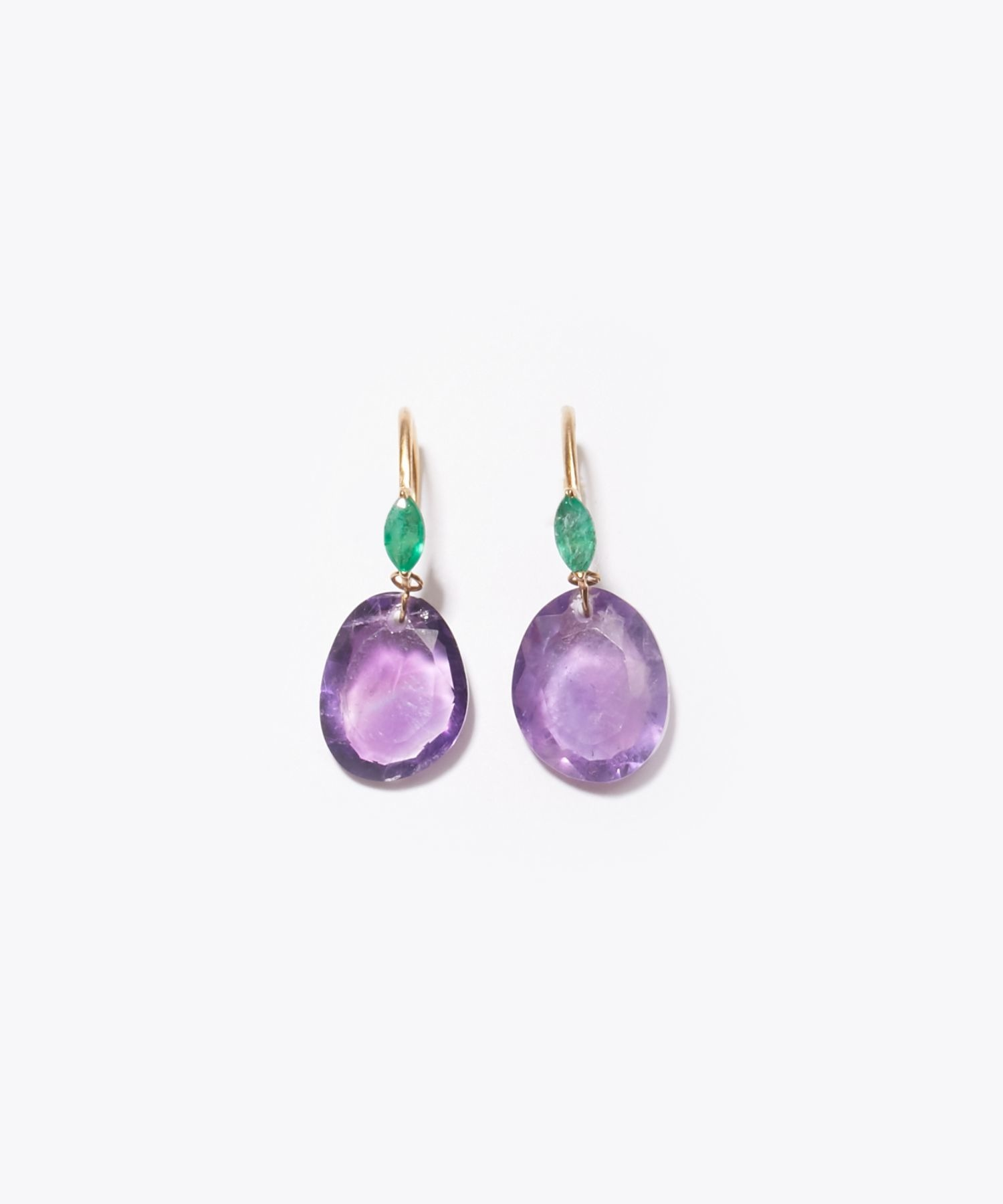 [eutopia] K10 pink amethyst and emerald swing pierced earring