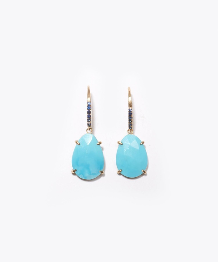 """eutopia"" K10 turquoise and blue sapphire swing pierced earring"