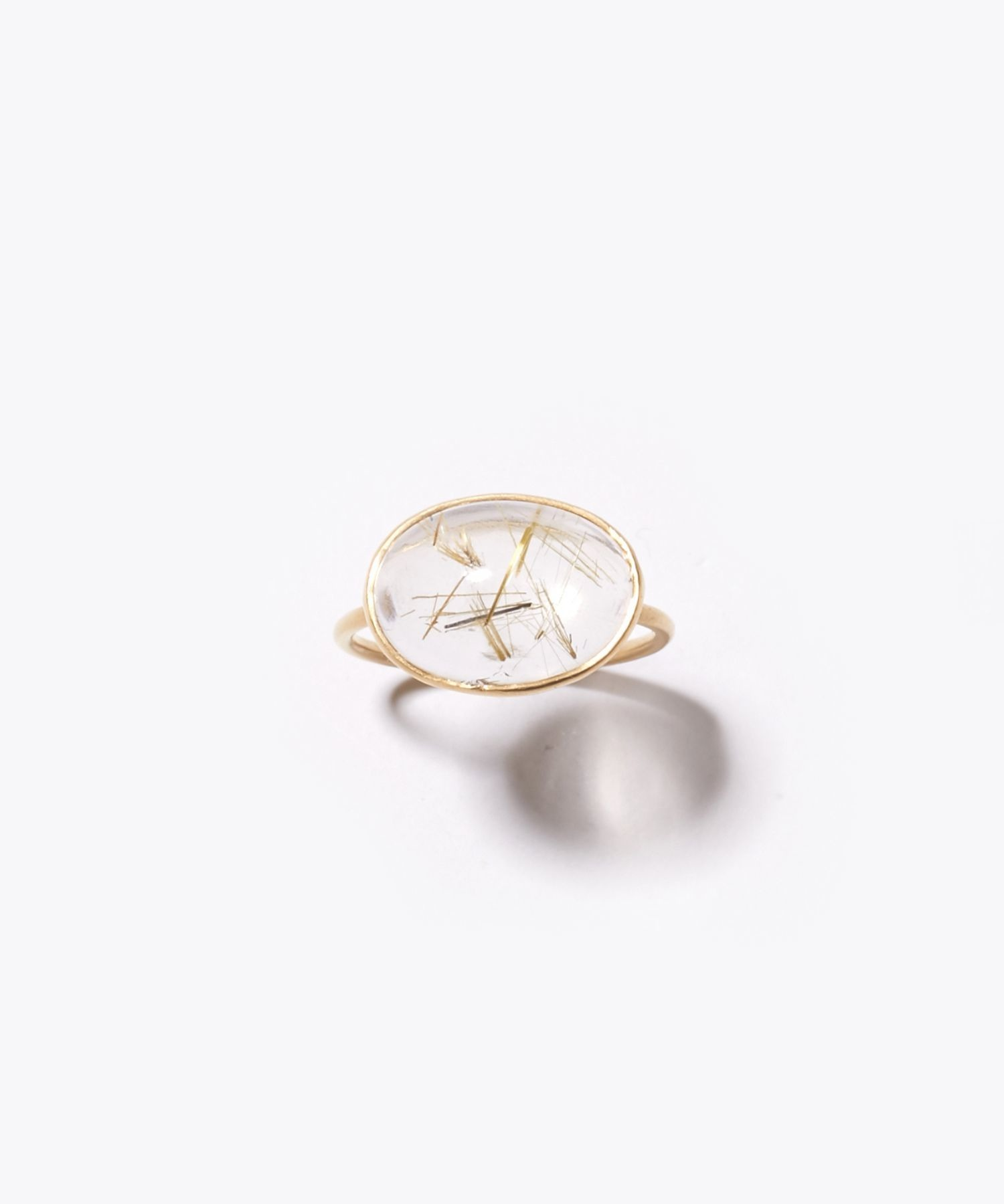 [eutopia] K10 cabochon gold rutilated quartz ring