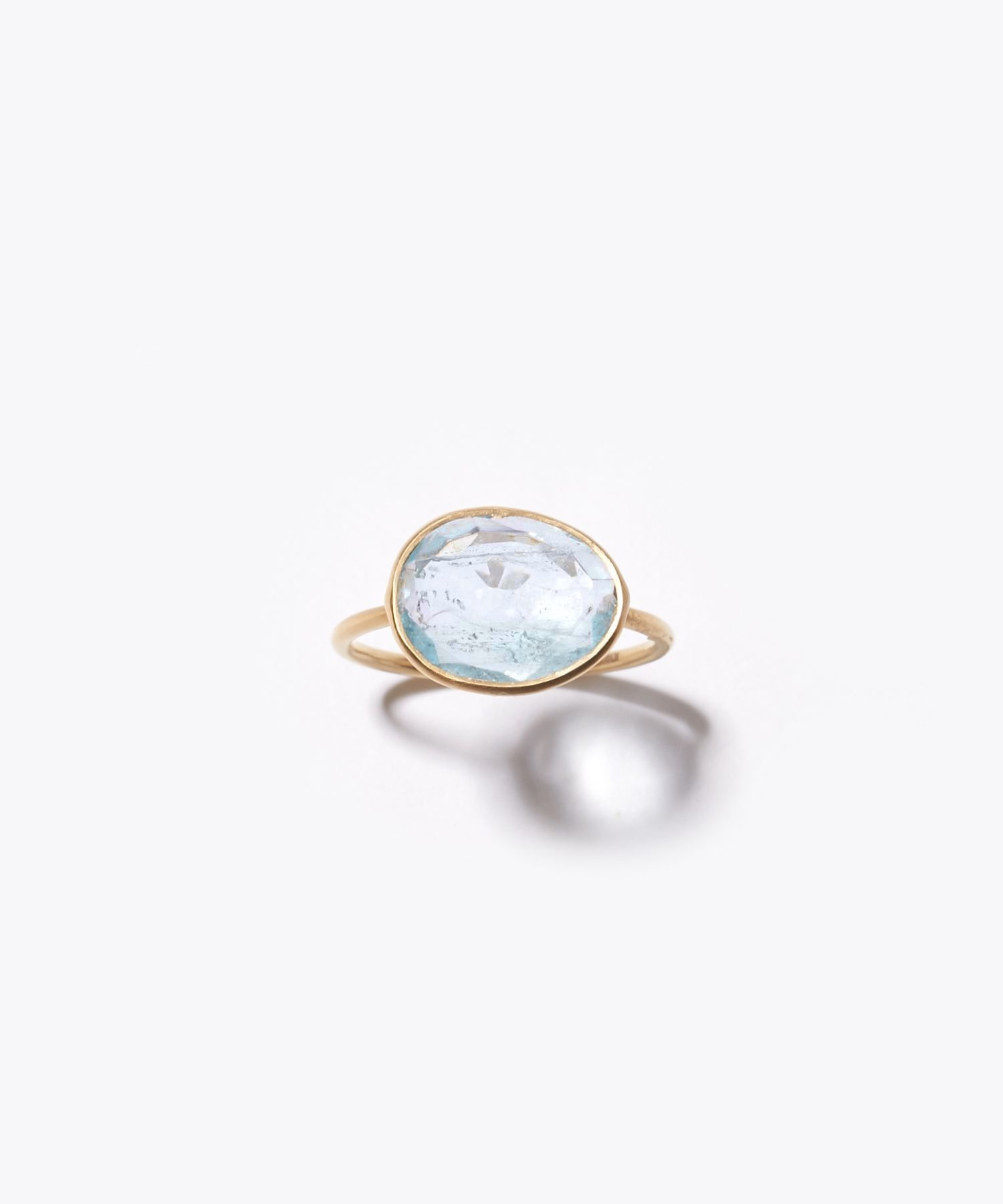 [eutopia] K10 sliced aquamarine ring