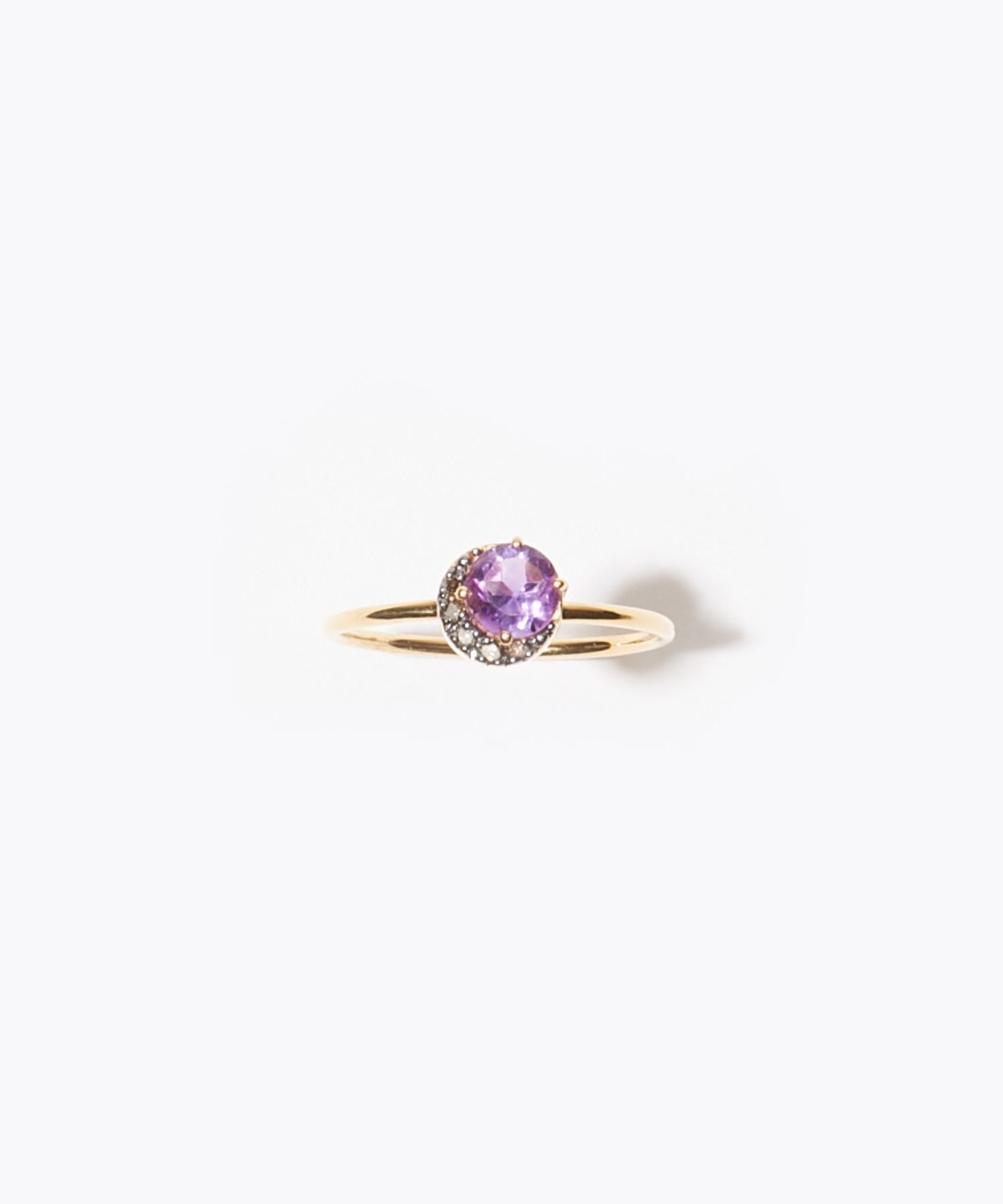 [elafonisi] dark amethyst new moon pave diamonds ring