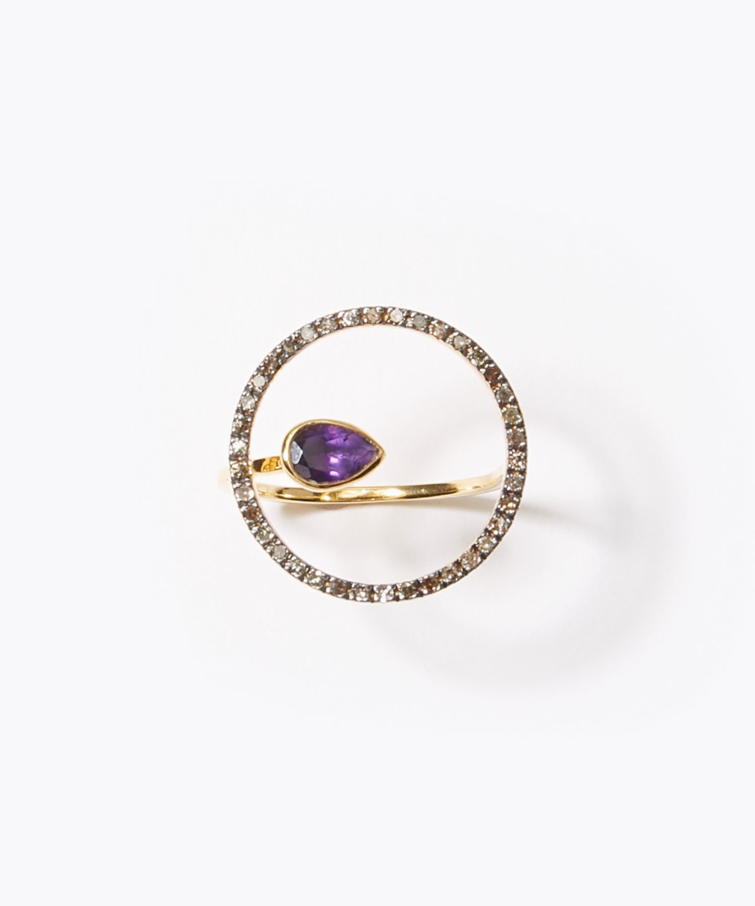[elafonisi] dark amethyst and pave circle ring