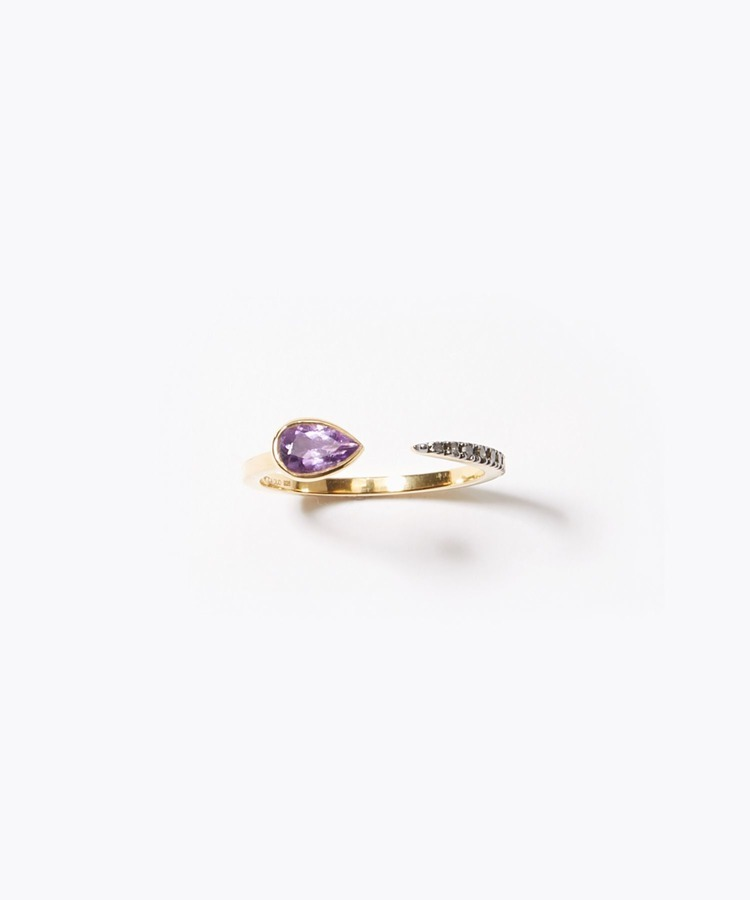 [elafonisi] pear shape dark amethyst pave open ring