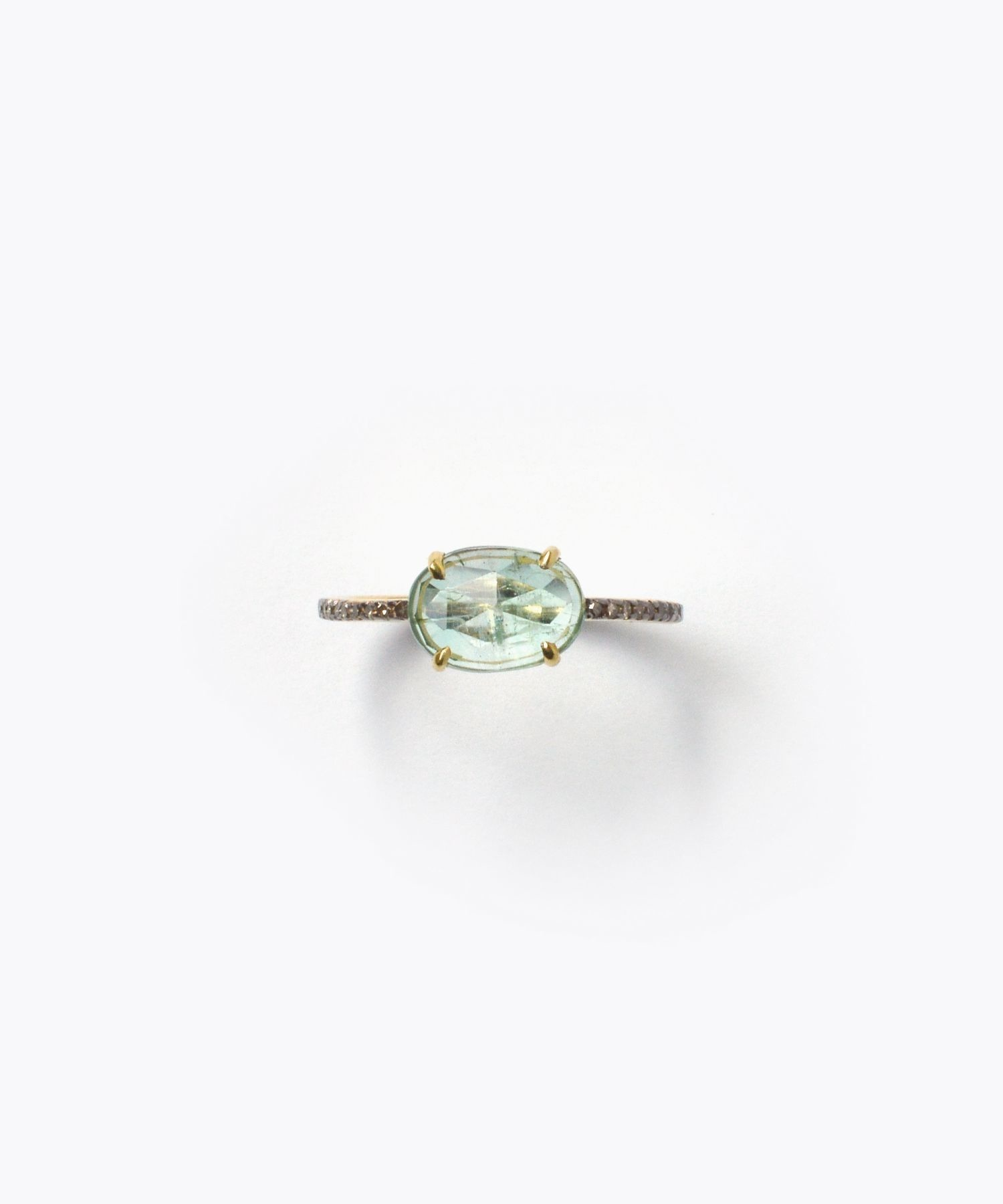 [elafonisi] extra small emerald pave diamonds eternity ring