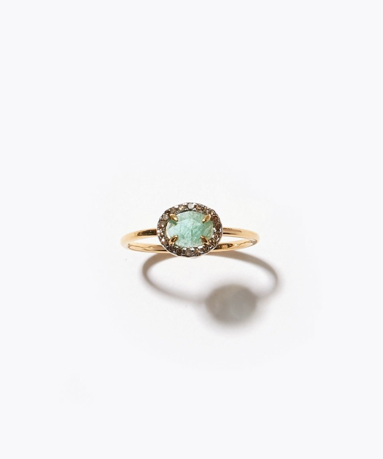 """elafonisi"" extra small emerald with pave diamondss ring"