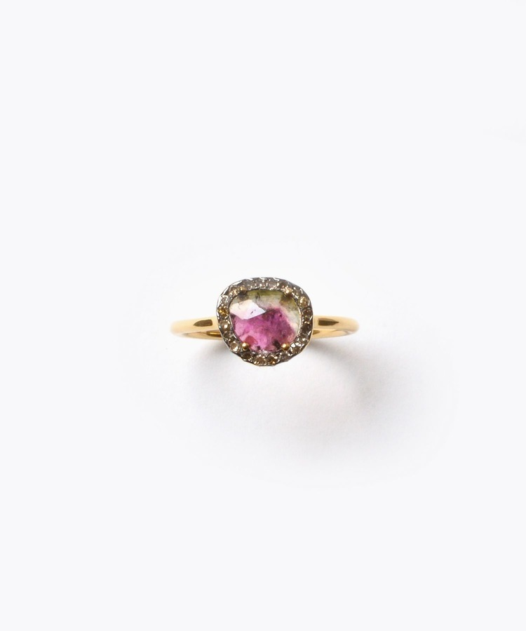 """elafonisi"" extra small watermelon tourmaline with pave diamondss ring"