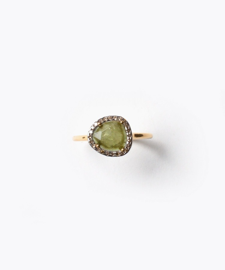 """elafonisi"" S green tourmaline with pave diamonds ring"