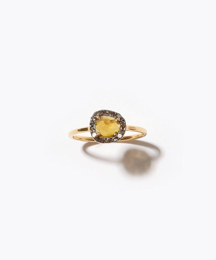 """elafonisi"" extra small yellow tourmaline with pave diamonds ring"