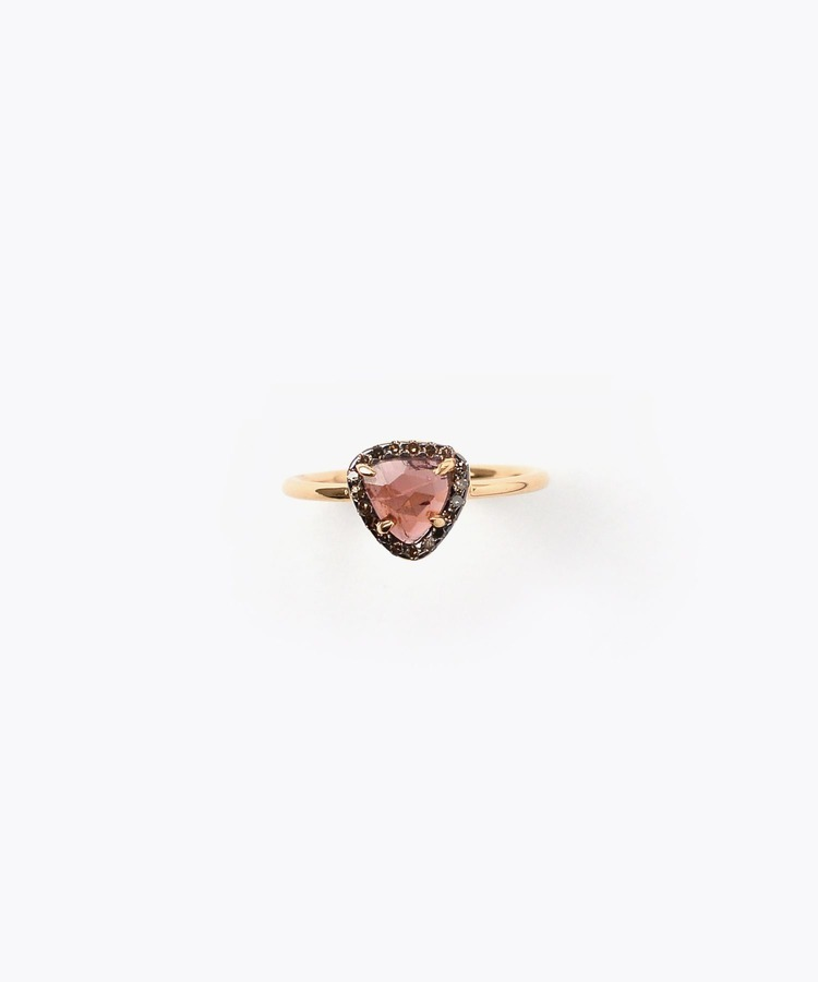[elafonisi] small dark pink tourmaline with pave diamond ring