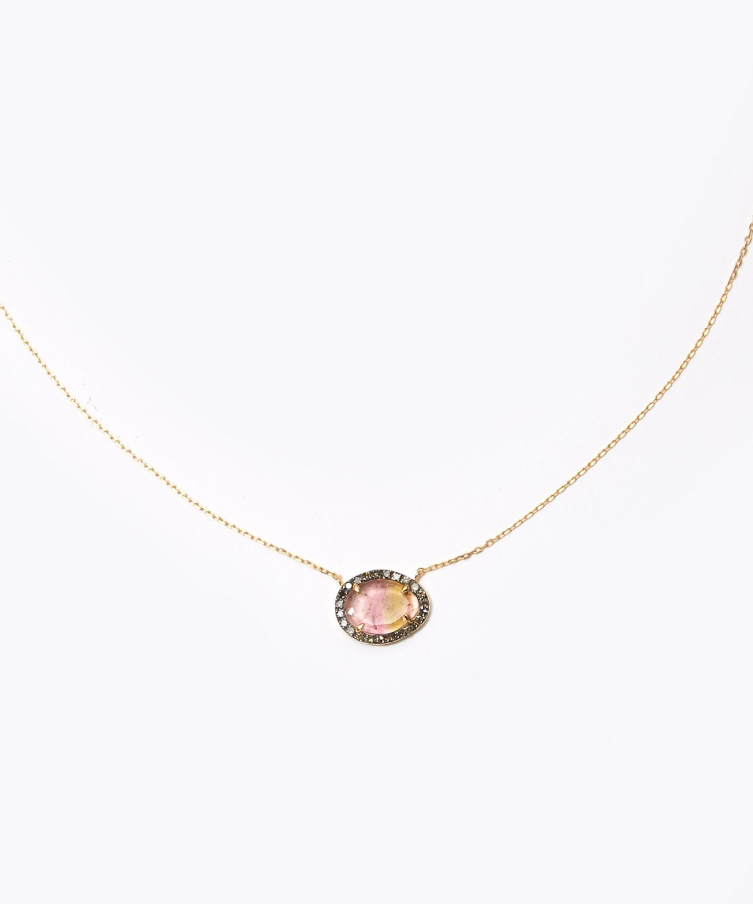 [elafonisi] tourmaline pave diamonds necklace