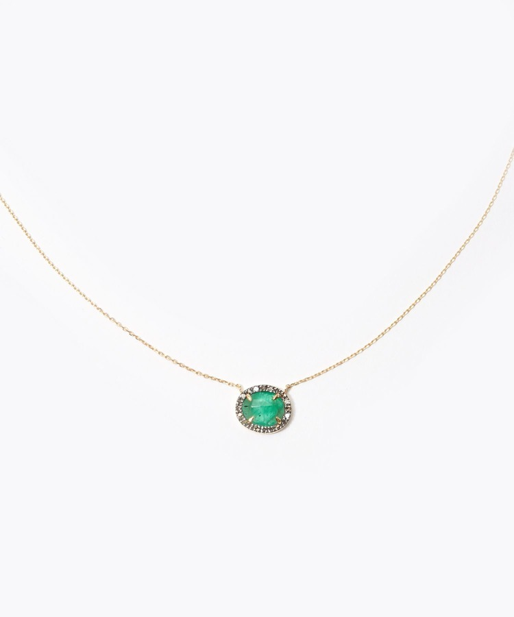 [elafonisi] emerald pave diamonds necklace