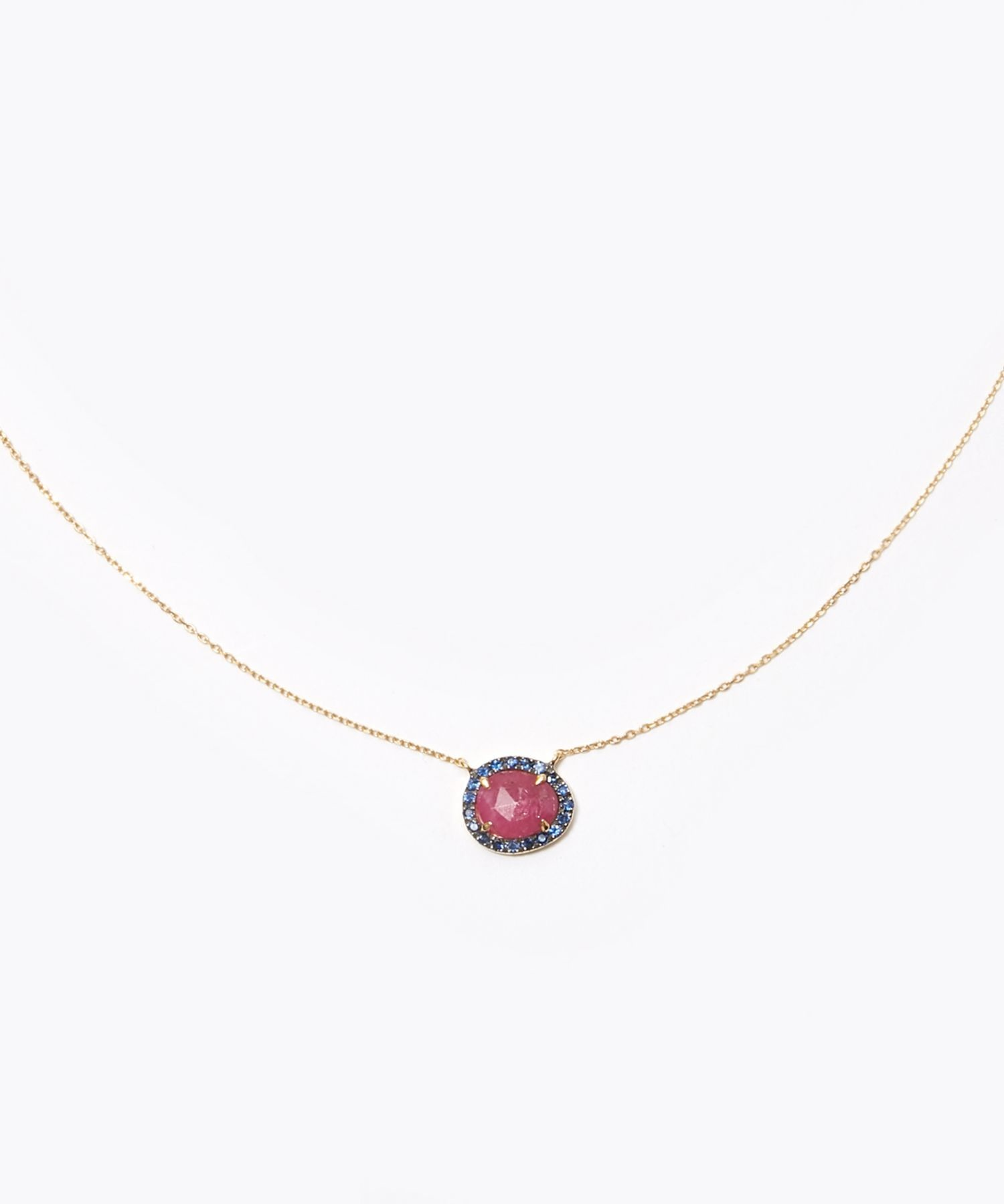 [elafonisi] ruby pave sapphire necklace