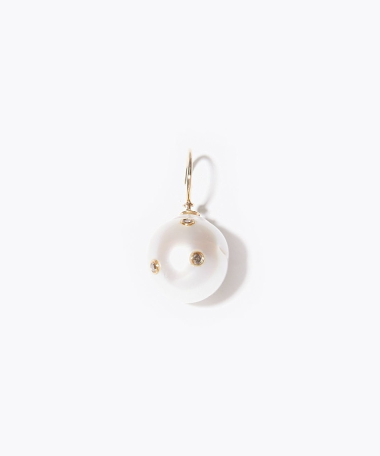 """pear"" south sea pearl with diamonds pierced earring"