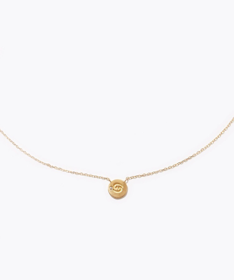 """constellation"" Cancer K10 diamond petit medal necklace"