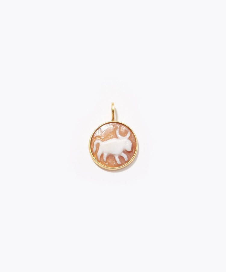 """constellation"" Taurus cameo curving charm"