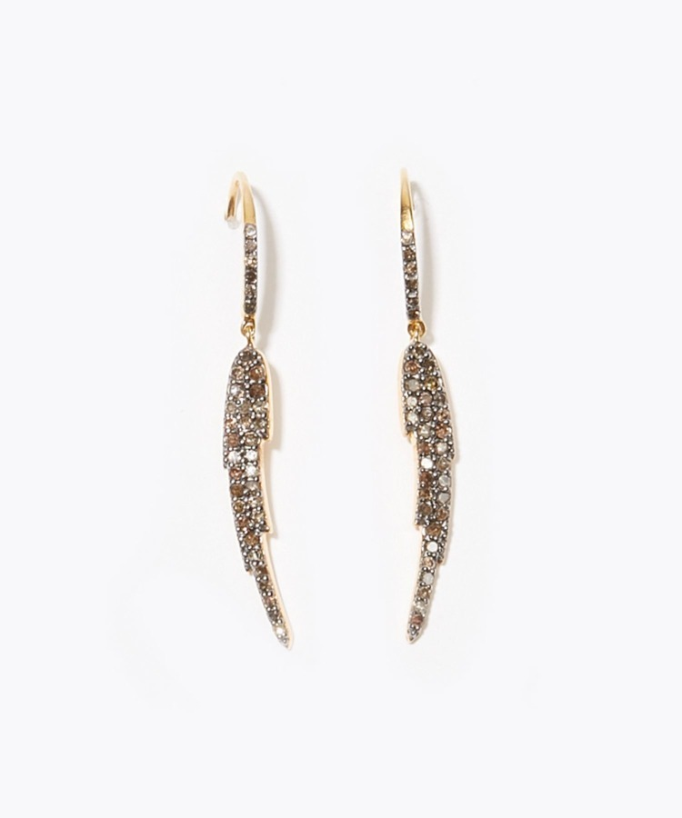 """ange"" feather pave diamondss pierced earring"