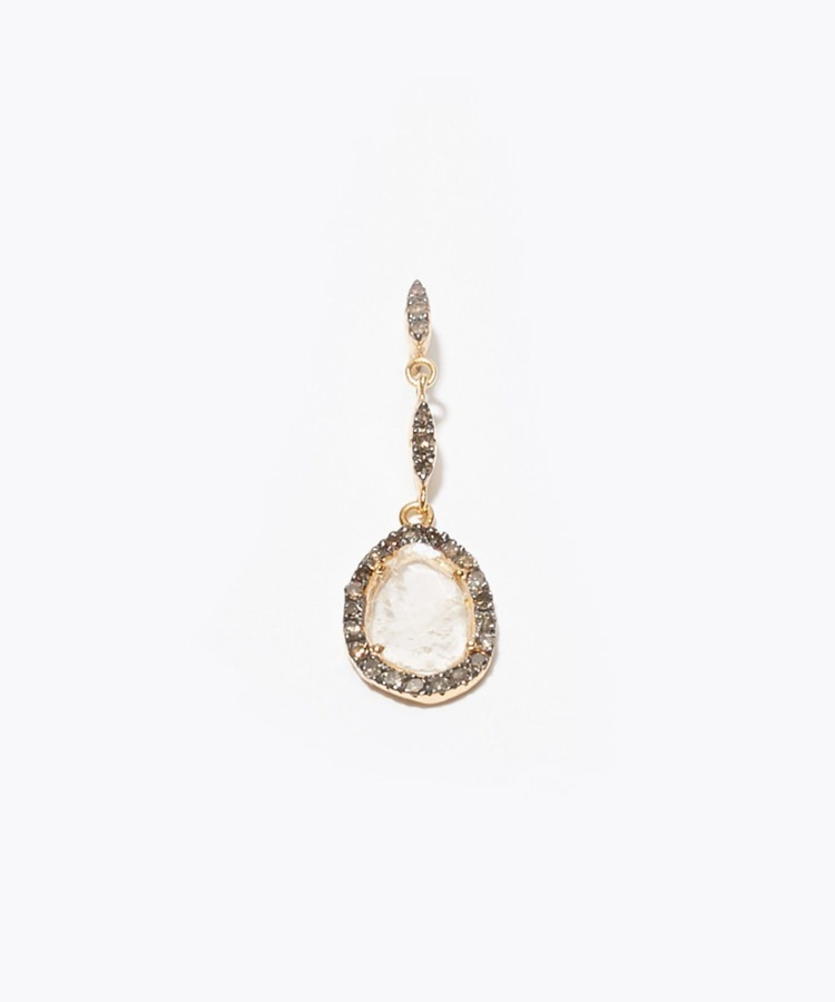 [elafonisi] south sea pearl and sliced diamond pave swing pierced earring
