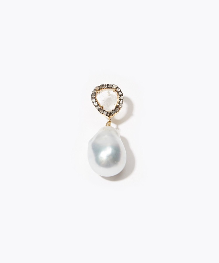 """elafonisi"" south sea pearl and sliced diamond pave pierced earring"