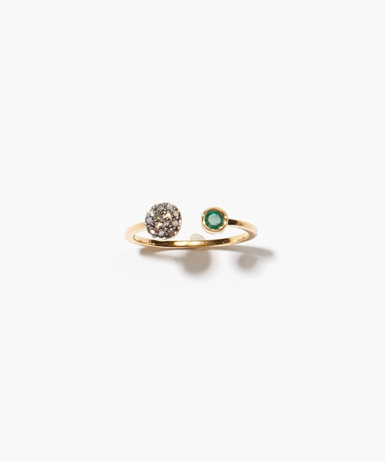 """elafonisi"" aflare disque emerald and pave diamondss open ring"