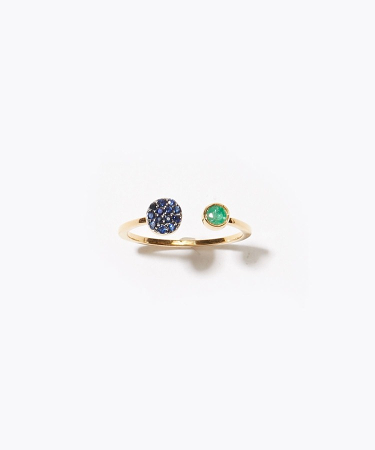 [elafonisi] aflare disque emerald pave sapphire open ring