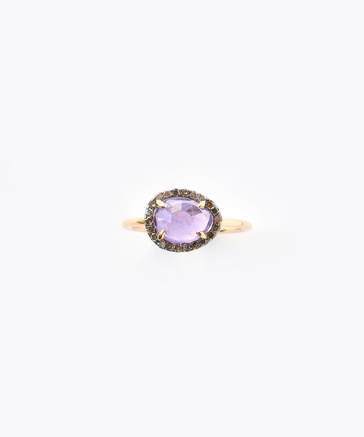 """elafonisi"" extra small amethyst with pave diamonds ring"