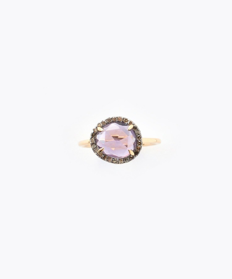 """elafonisi"" small amethyst with pave diamonds ring"