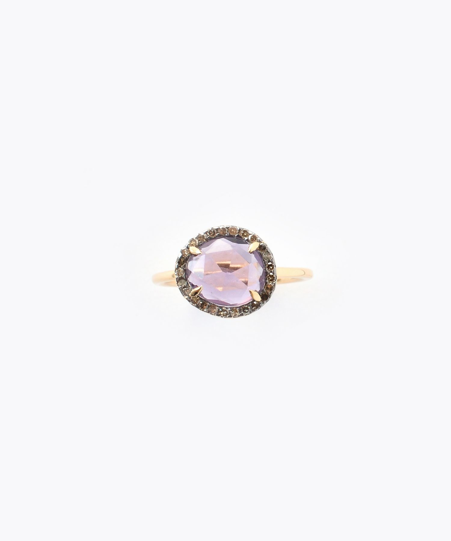 [elafonisi] small amethyst with pave diamonds ring