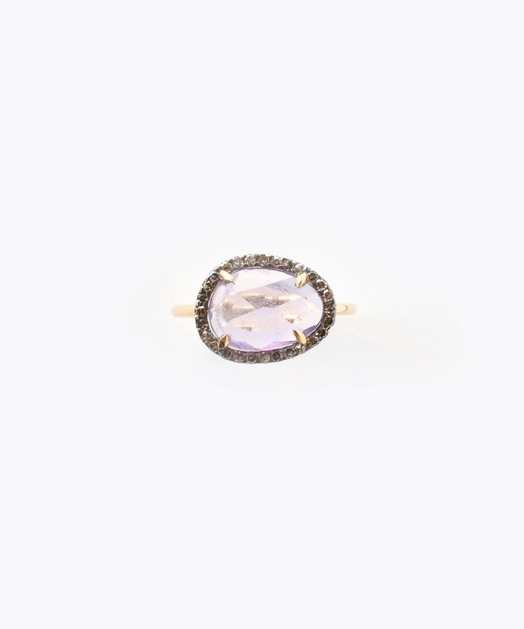 """elafonisi"" medium amethyst with pave diamonds ring"