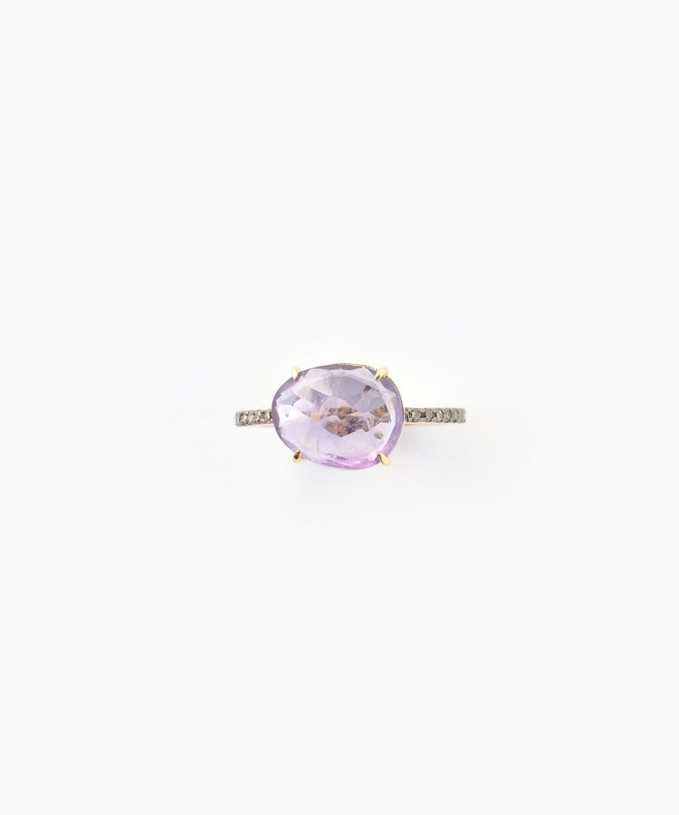 [elafonisi] medium amethyst with pave diamonds eternity ring