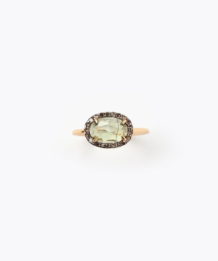 [elafonisi] medium green tourmaline with pave diamonds ring
