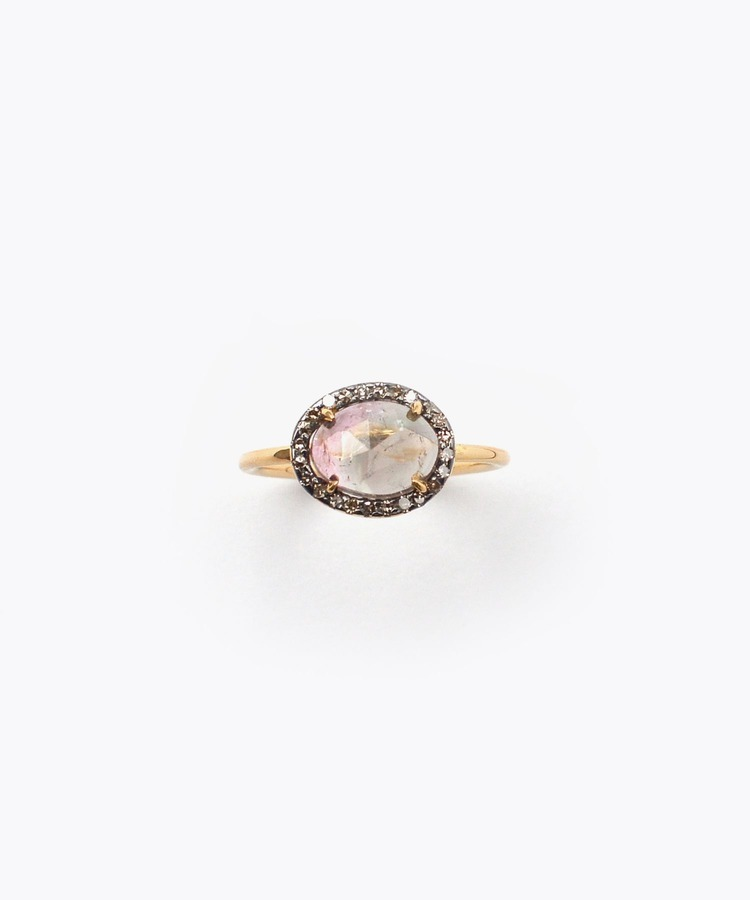 [elafonisi] medium bi-color tourmaline with pave diamonds ring