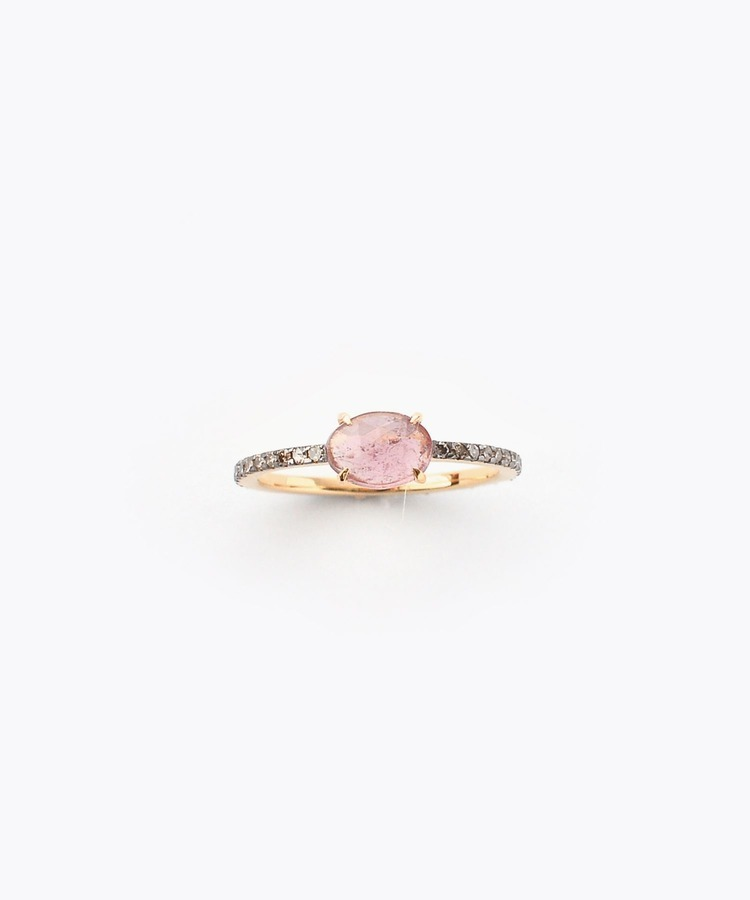 [elafonisi] dark pink tourmaline with pave diamonds eternity ring