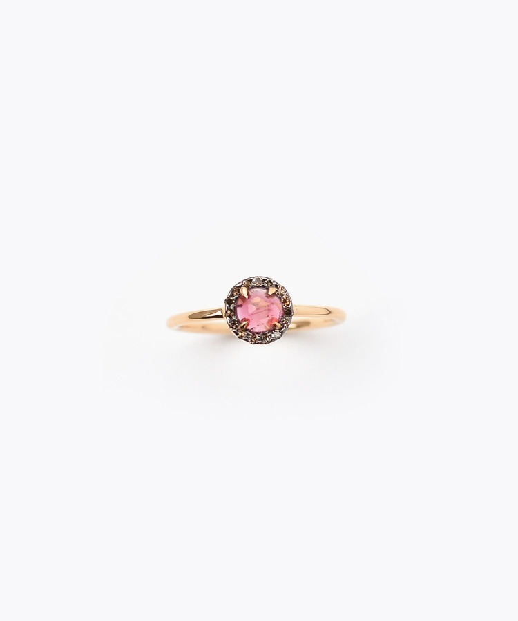 """elafonisi"" extra small dark pink tourmaline with pave diamonds ring"