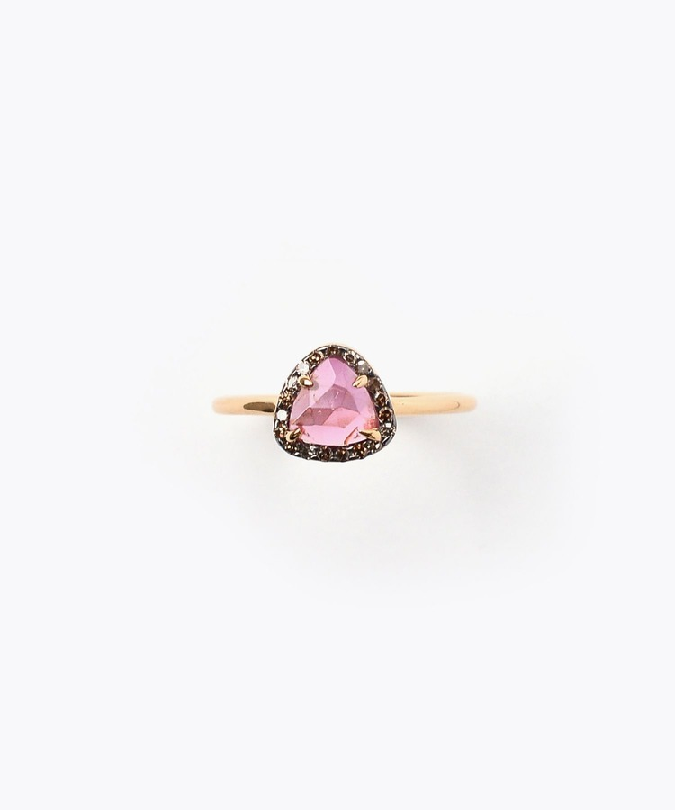[elafonisi] medium dark pink tourmaline with pave diamonds ring
