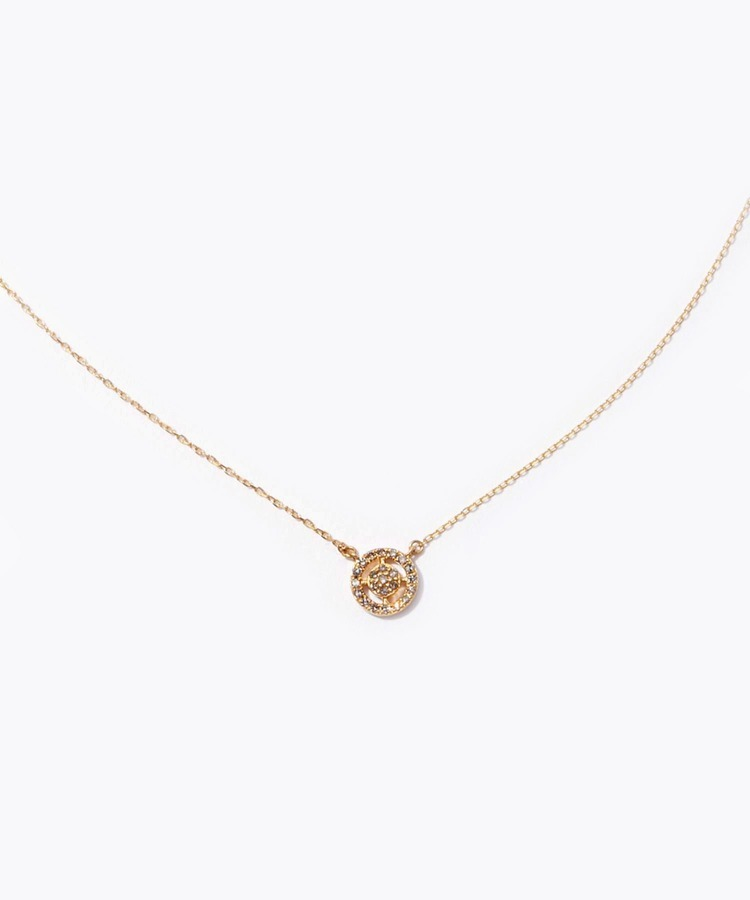 [jupiter] K18 disque pave diamonds necklace